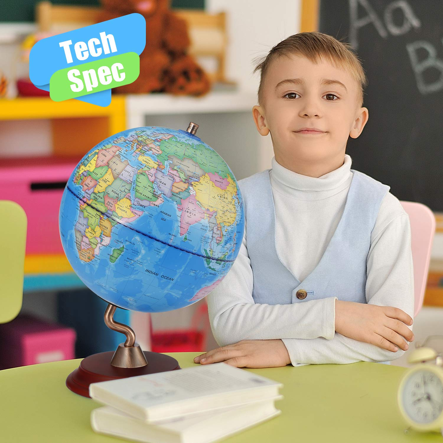 World Globes with Wooden Stand for Kids Geography Learning Toy Educational World Globe with Stand Adults Desk Geographic Globes Discovery World Globe Educational Toy