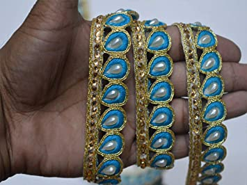 2 Yard latest Indian Turquoise Blue and Gold Beaded Kundan Stone Work Lace trim