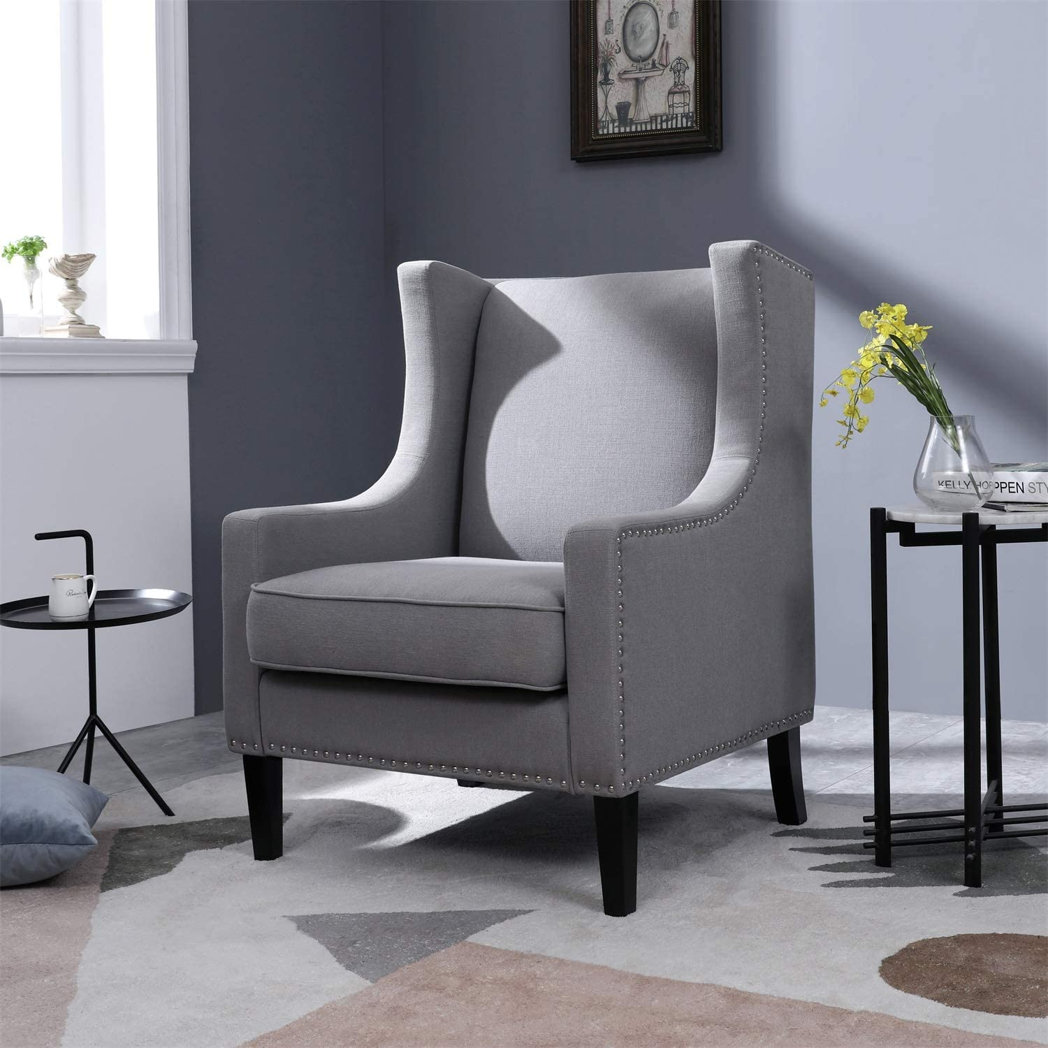 Top Space Accent Chair Living Room Chairs Arm Chair Single Sofa Upholstered  Gray Comfy Fabric Mid-Century Modern Furniture for Bedroom Office (11PCS-11,