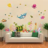 ElecMotive Under the Sea Decals Whales The Deep Blue Sea Decorative Peel Vinyl Wall Stickers Wall Decals Removable Decors for Bedrooms Kids Rooms Baby Nursery Boys and Girls Bathroom