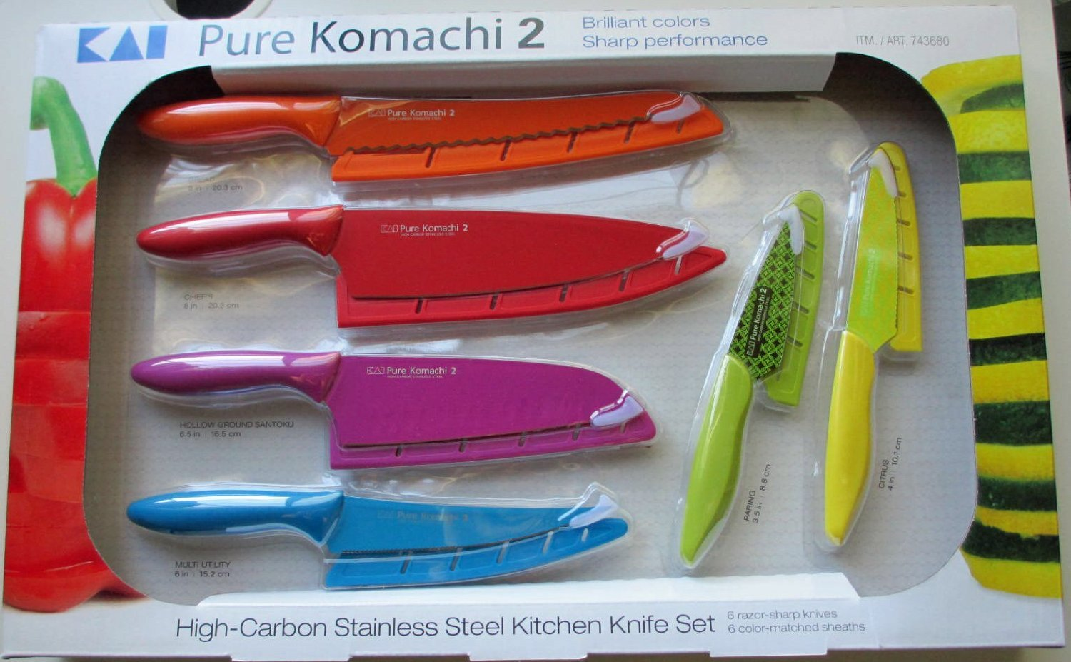 Kai Pure Komachi 2 6-Piece Knife Set 6 Stainless Steel Knives Colored Sheaths 743680