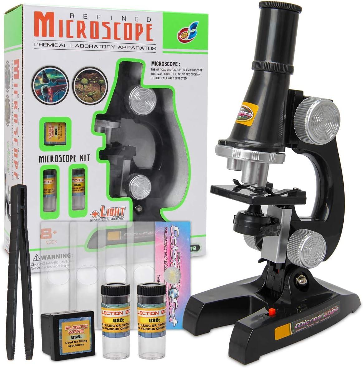 Zhichengbosi Kids Microscope 100x Kids Beginner Microscope Toy Set Microscope for Kids with Experiment Kit 450x 200x