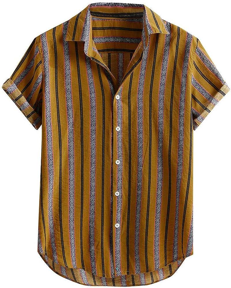 waotier Camisas Casual Camisa a Rayas para Hombre Botones Sueltos de Manga Corta de Rayas Coloridas Camisa Casual de algodón Blusa: Amazon.es: Ropa y accesorios