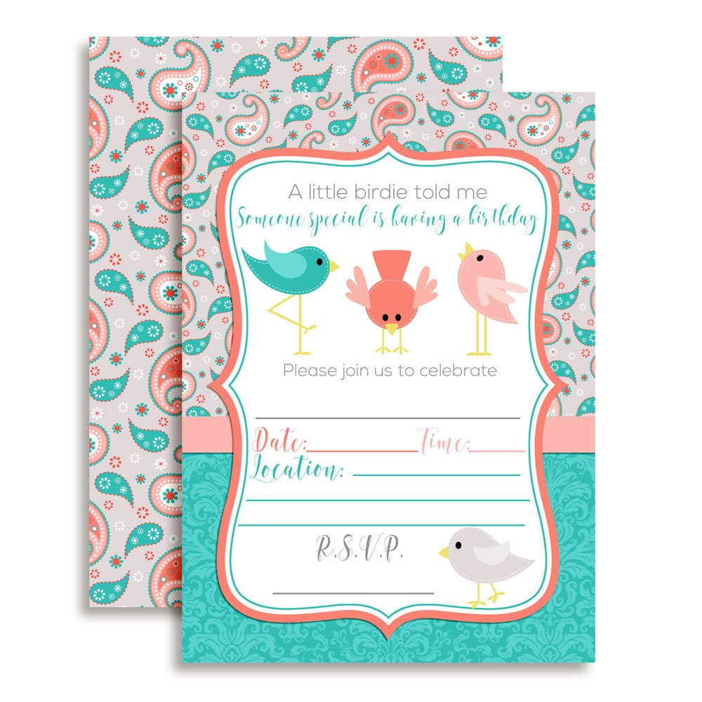 A Little Birdie Told Me Themed Birthday Party Celebration Invitations, Ten 5''x7'' Fill In Cards with 10 White Envelopes by AmandaCreation