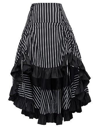 9336ae22424b Black Victorian Renaissance Bustle Skirt Steampunk Pirate Skirt BP345-2 S
