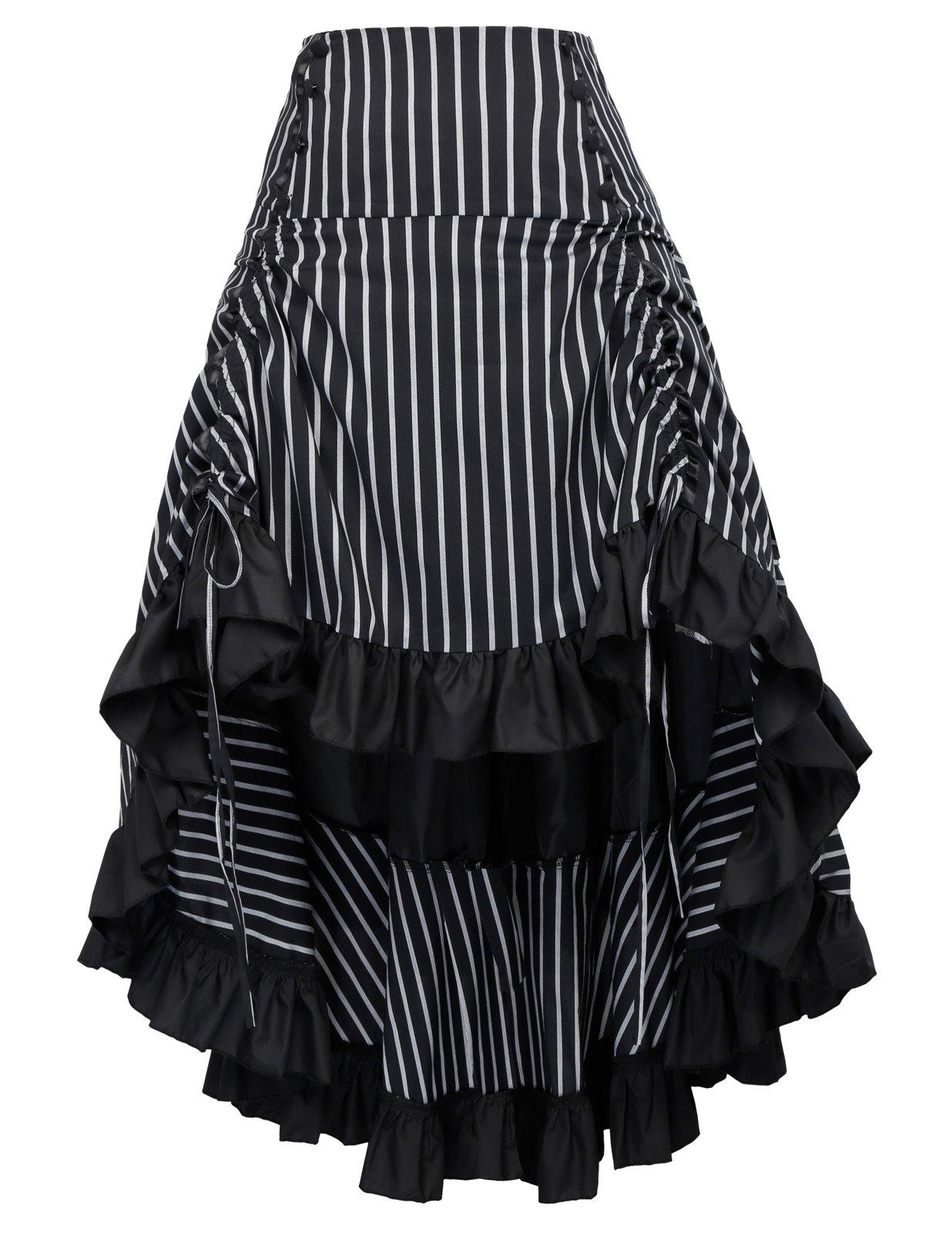 Striped Steampunk Skirt for Women Victorian Bustle Skirt with Zipper BP345-2 L
