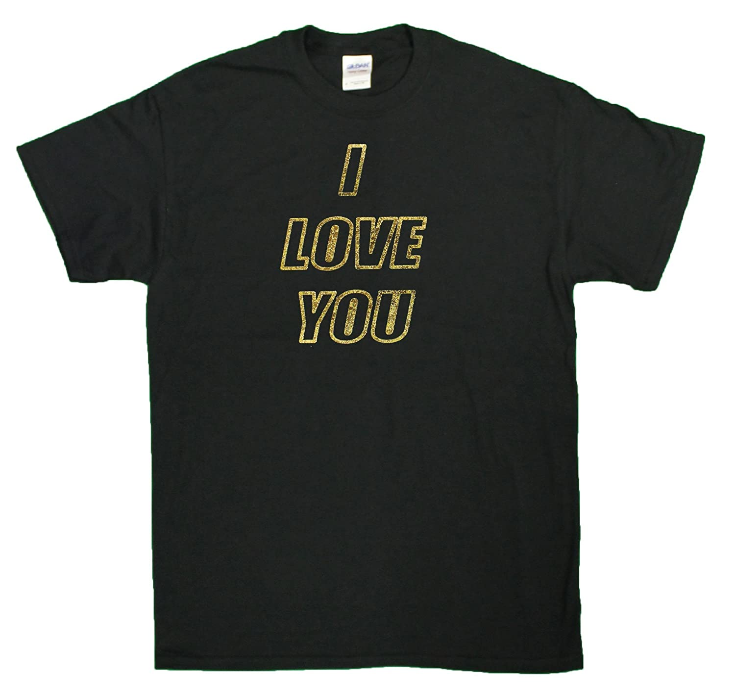 Amazon Com Men S I Love You Gold Foil Printed T Shirt Clothing