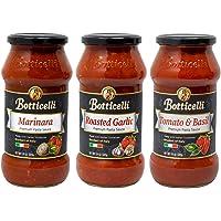 Botticelli Pasta Sauce - Tomato & Basil, Roasted Garlic and Keto Marinara Sauce Premium Variety Pack for Low Carb Spaghetti Sauce, Pizza, Dip, & Soup - Made With Italian Organic Tomatoes (24oz) (3)
