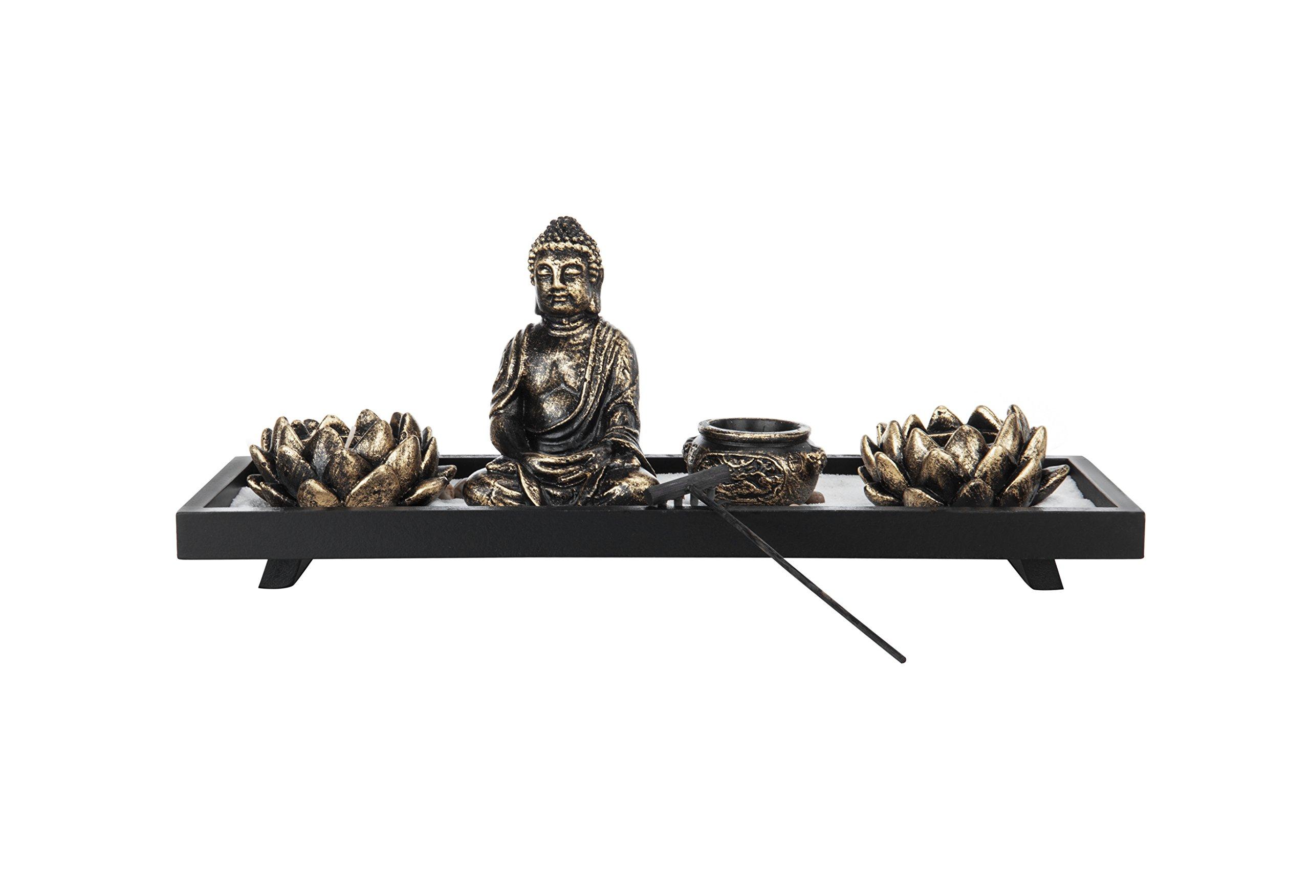 MyGift Home Zen Garden Set - Buddha Statue / Lotus Tea Light Candle Holder / Incense Burner Holder