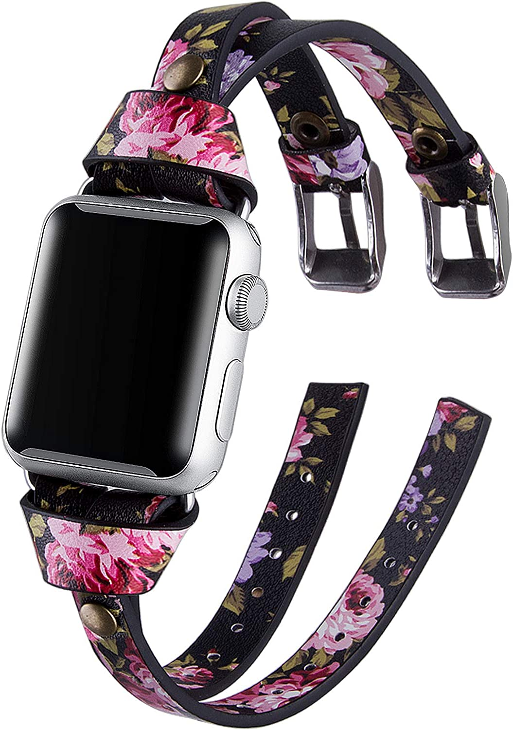 VIQIV Leather Band Compatible with Apple Watch Series 5 4 3 38mm 40mm 44mm 42mm Bands for Women iWatch Unique Wristbands Bracelet Strap Double-Breasted Rose Gold