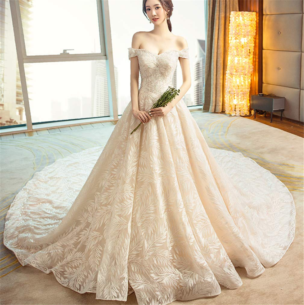 Medium Wedding Dress, Europe and America Luxurious Princess Sexy Deep VNeck Strapless Strap high Quality Lace Trailing Church Dress