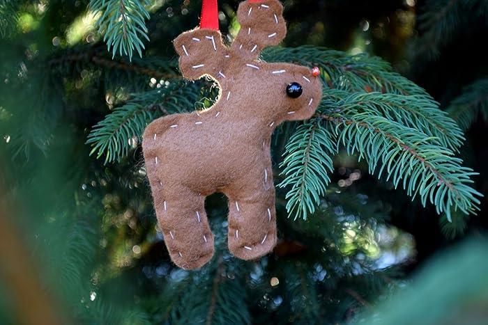 Christmas Reindeer ornament Deer tree decor Stocking stuffer Felt