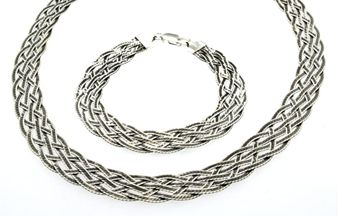 Tuscany Silver Sterling Silver Oxidised Set of Herringbone Chain and Bracelet of 43cm/17 and 19cm/7.5 KIUm6yEPg