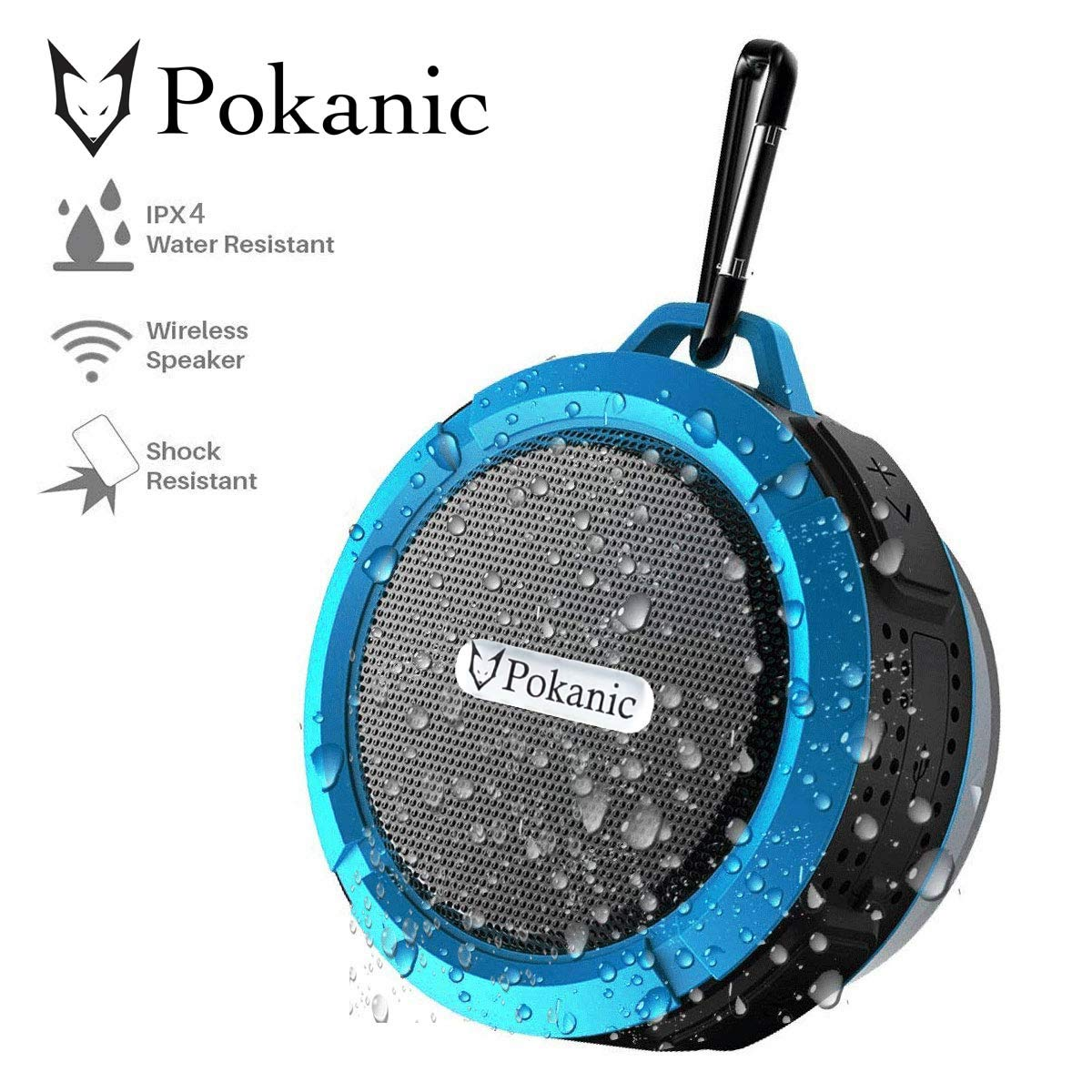HD防水Bluetooth3.0シャワースピーカー Pokanic防水ハンズフリーポータブルスピーカーフォン 内蔵マイク 6時間再生 コントロールボタン 専用吸盤 アップグレードバージョン ブルー   B07LCBG6RB