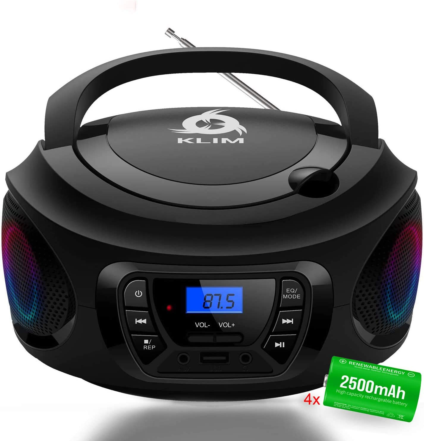 KLIM CD Boombox Portable Audio, FM Radio, Rechargeable Battery, Bluetooth, MP3 and AUX. Equipped with Neodymium Speakers, [2021 Release] Upgraded CD Laser Lens.