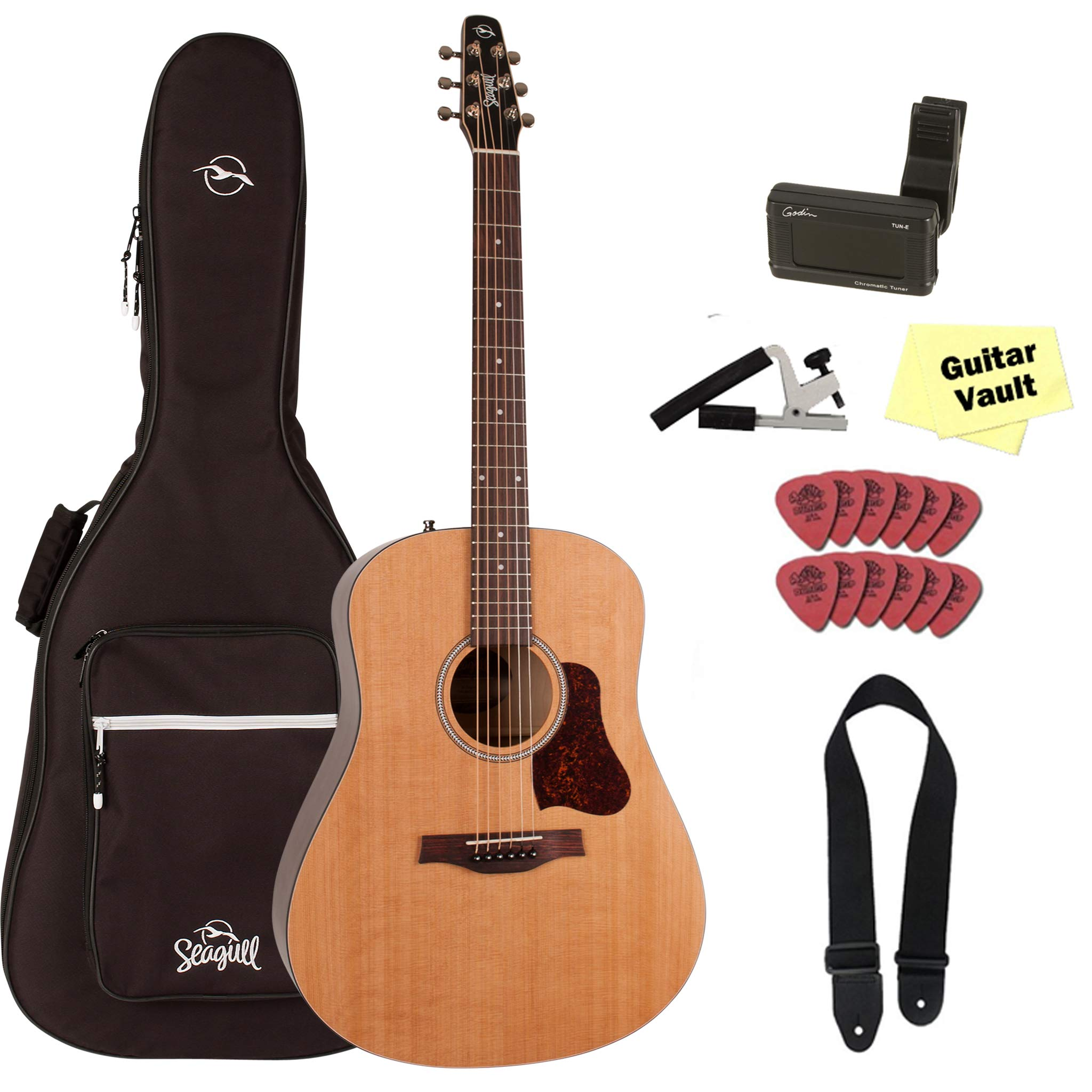 Seagull S6 Original Acoustic Guitar With Seagull Padded Gig Bag and Accessory Kit  (2018 Model 046386) by Seagull
