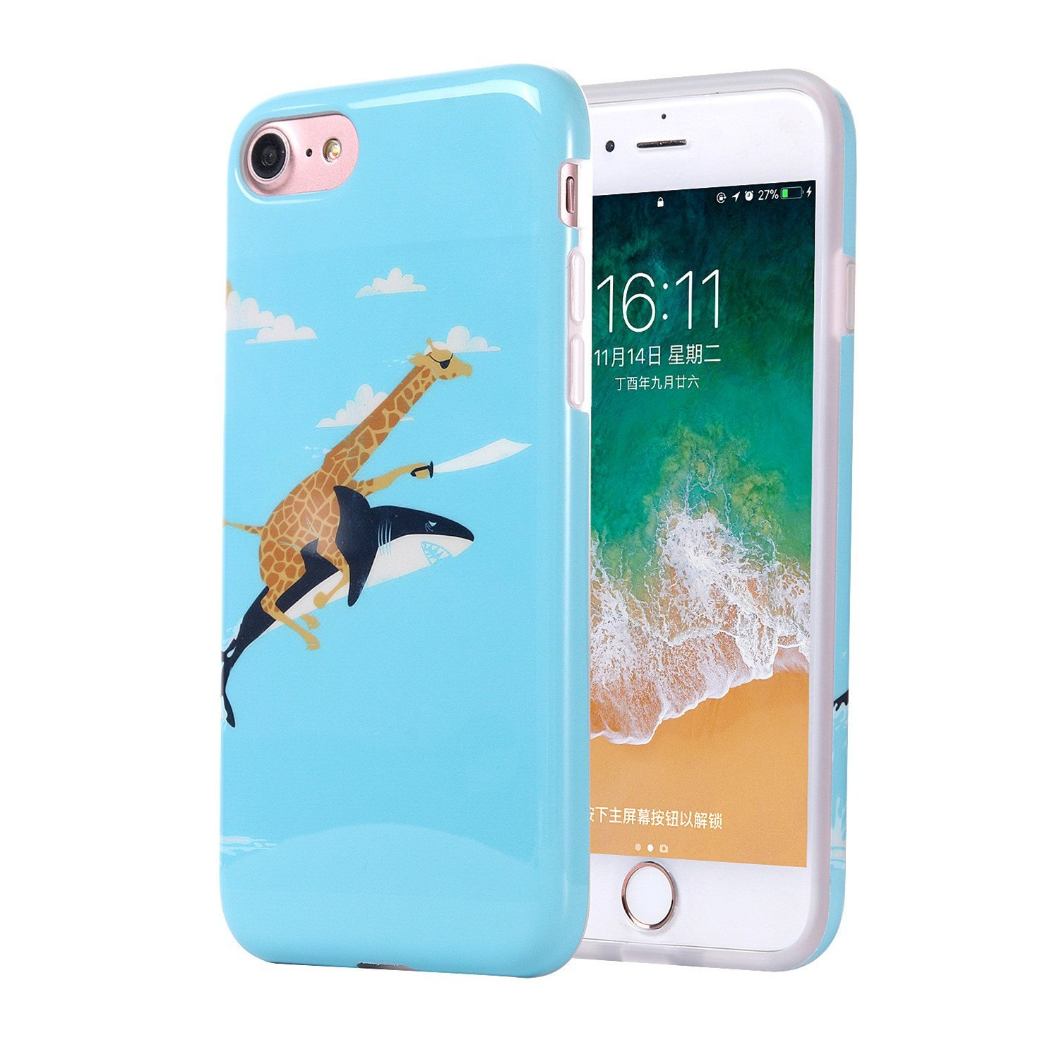 iPhone 6 Case, iPhone 6s Case Cute for Girls, Best Protective Slim Shockproof Glossy Soft Flexible Clear Rubber TPU Silicone Cover Phone Case for Apple iPhone 6 / 6s (Giraffe Riding Shark)