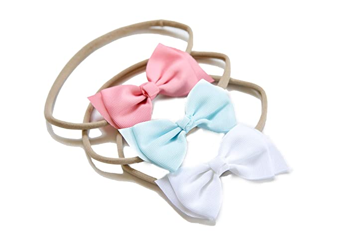 Amazon.com  3 Baby Girl Hair Bows on Nylon Headbands  fdb4f5feab0