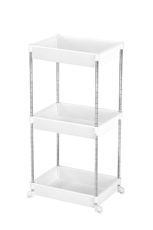 Premier Housewares - Mueble con Ruedas para el baño (Cromo y plástico, 78 x 39 x 29 cm, 4 estantes), Color Blanco: Amazon.es: Hogar