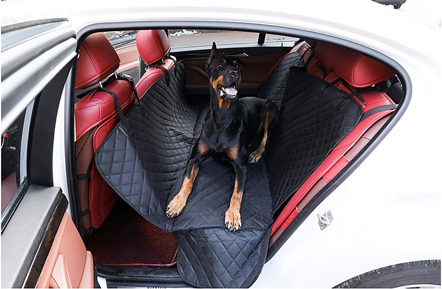Black ankle GDZ Waterproof Dog Car Seat Cover with Side Predection, Car Boot Predector Nonslip Catches Wet Dirt and Hair for Car Truck SUV (color   Black ankle)