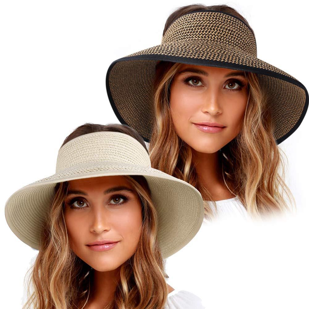 Roll Up Sun Visor Wide Brim Straw Hats for Women Ponytail Summer Beach Hat UV UPF 50 Travel Foldable Packable FURTALK (One Size, Beige Mix Khaki)