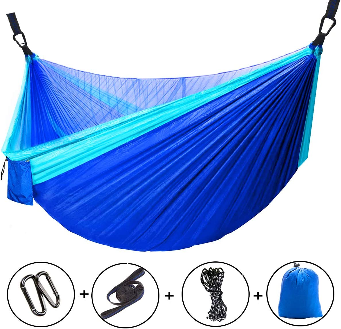 Yuede Camping Hammock with Net Mosquito, Parachute Fabric Hammocks Brand Gear, Indoor Outdoor Backpacking Survival, Portable, Nylon Hammock for Backpacking Travel Blue 115 L x 55 W