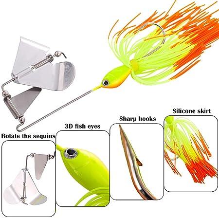 HENGJIA Pack of 5 Spinnerbaits Metal Spoon Fishing Lure 0.63oz//3.35 Hard Bait Pike Bass
