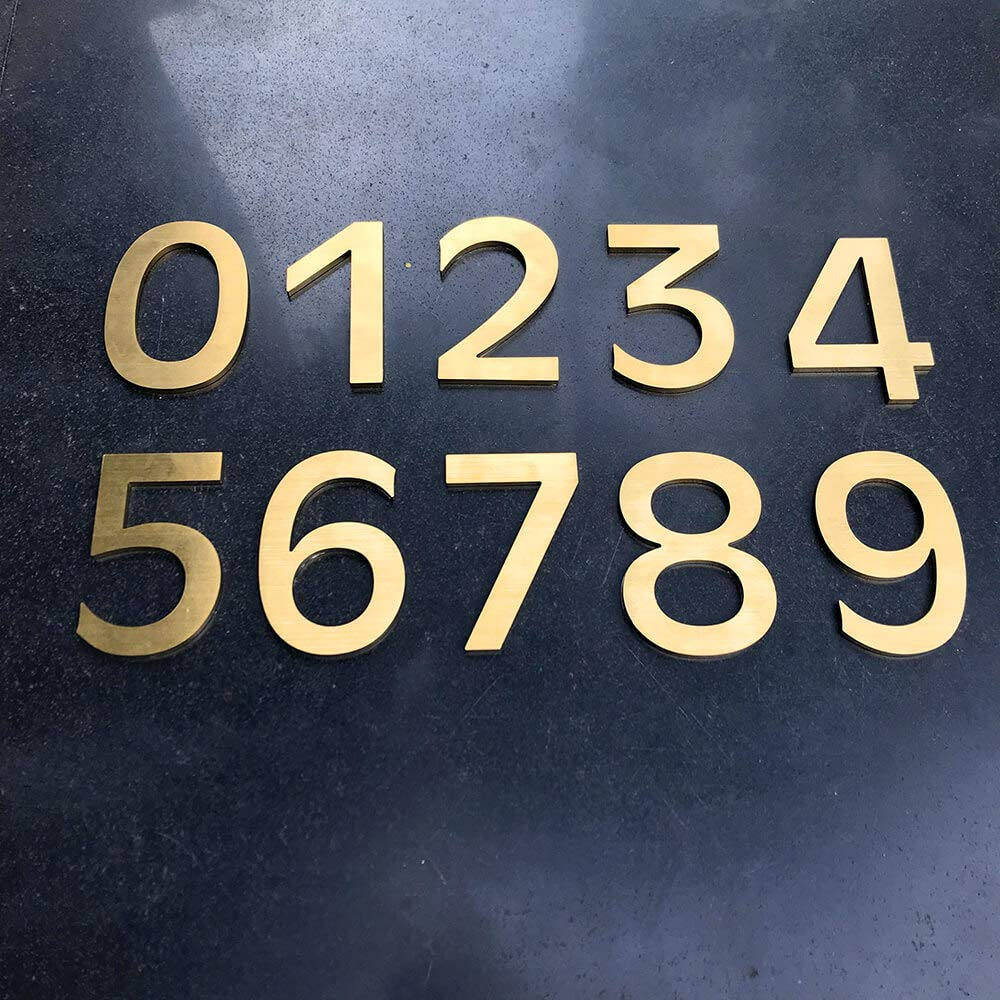 4 Inch Adhesive House Address Number Sticker 6 for Home Door Mailbox in 3D Modern Gold Metal by CandyCoCo