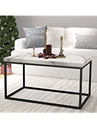 Roomfitters Marble Print Top Coffee Table Living Room Essentials Accent  Rectangle Cocktail Table,White Coffee Part 81