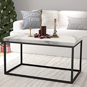 Amazoncom roomfitters Marble Print Top Coffee Table Living Room