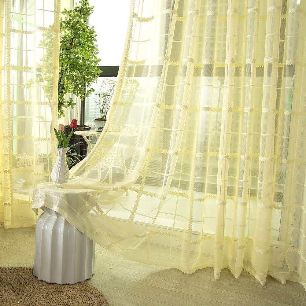 GJXY Tende Tenda del Voile Jacquard Trasparente con Occhielli Tende Semplice e Moderno Stile Morbido e Traspirante Camera Tenda Trasparente per Le finestre Grandi 2pcs,Bianca,117x137cm