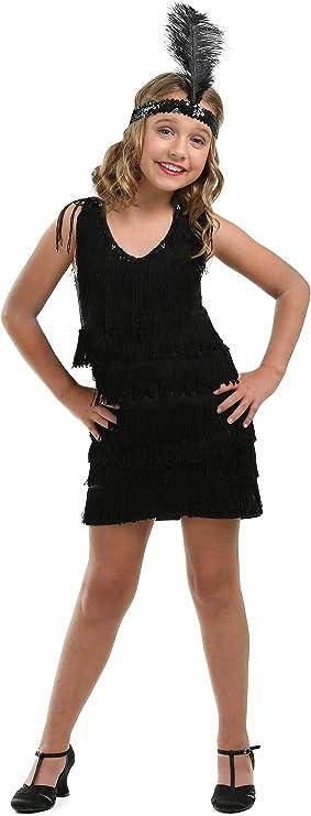 1920s Children Fashions: Girls, Boys, Baby Costumes Kids Black Fringe 1920s Flapper Costume Girls Flapper Dress X-Large $38.98 AT vintagedancer.com