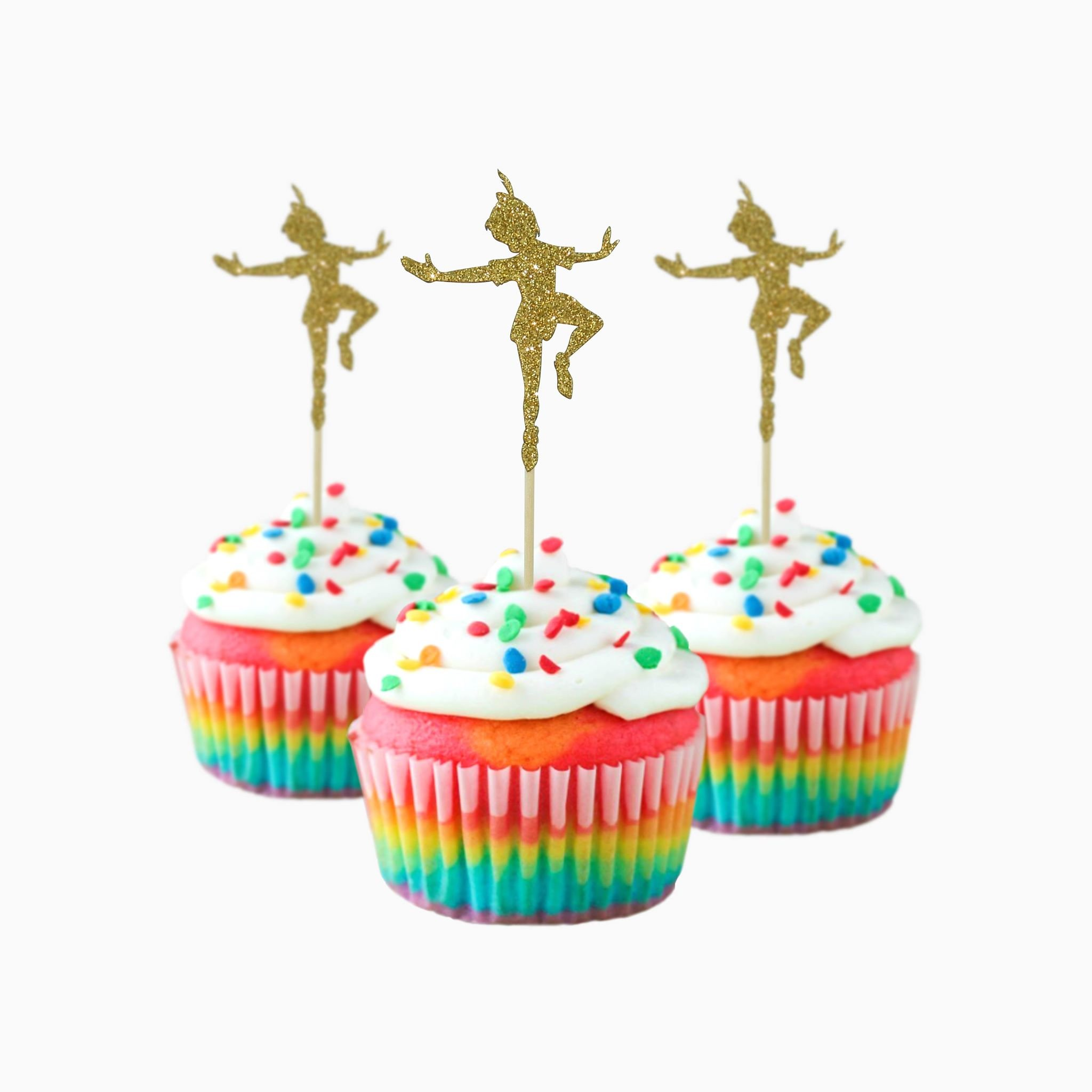 Peter Pan inspired toppers Party Wedding Birthday Cupcake Topper cardstock Color Gold 12 pc Pack Decoration