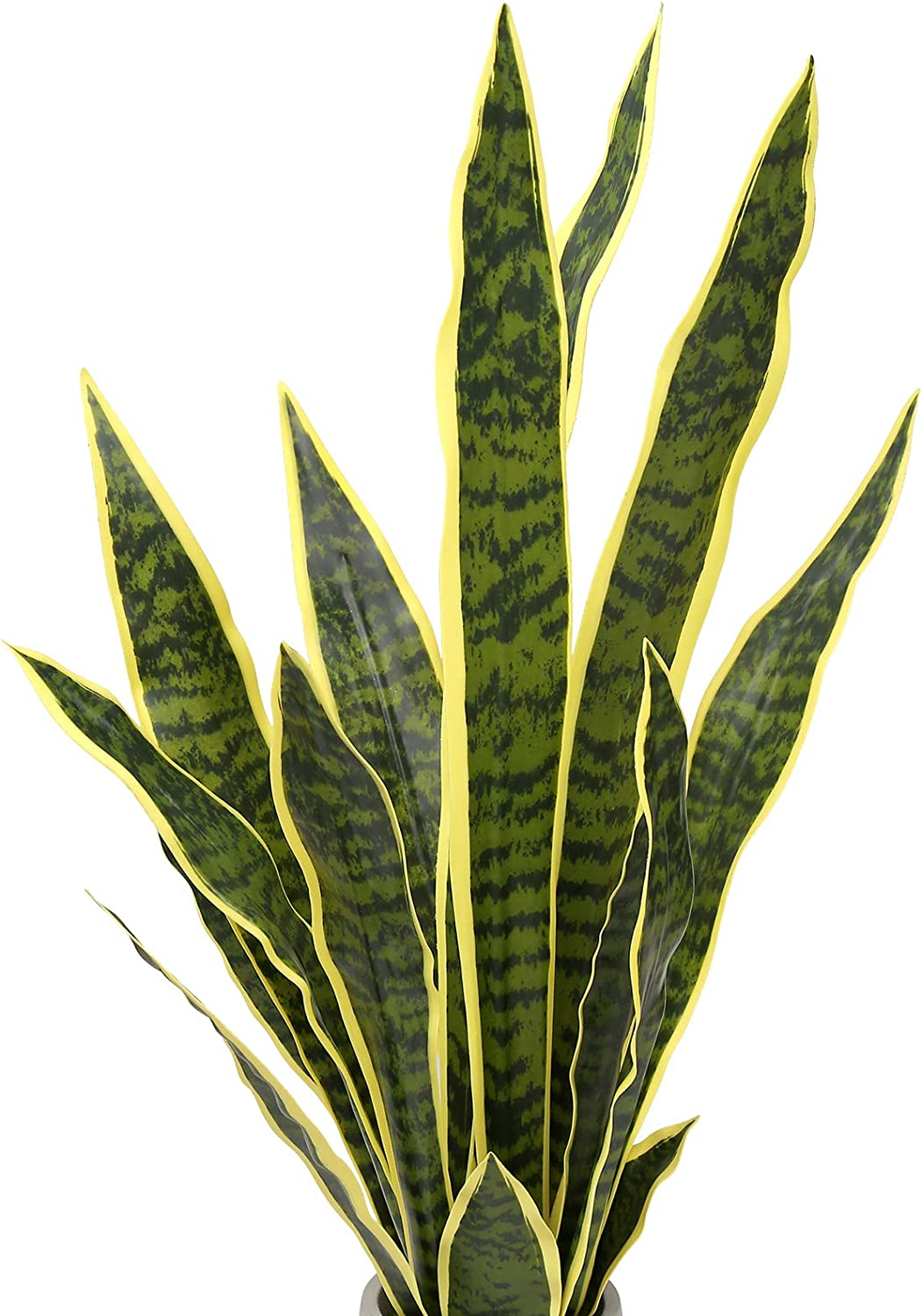 Summer Flower 15PCS Faux Snake Plant Leaves Set,23inch Tall Fake Sansevieria Plants Outdoor,Artificial Snake Plant Leaf,5 Sizes for Indoor Home Decor,Office,Garden,Tabletop Floor Decoration (Golden)