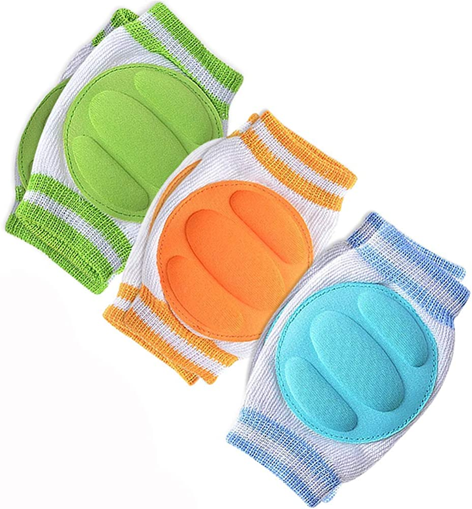 fast-shop Premium Quality Baby Knee Pads 3 Pairs Infants Crawling Anti-Slip Knee Protection Toddler Breathable Knee Safety Protector Unisex Design Adjustable Knee Elbow Pink Black Light Blue