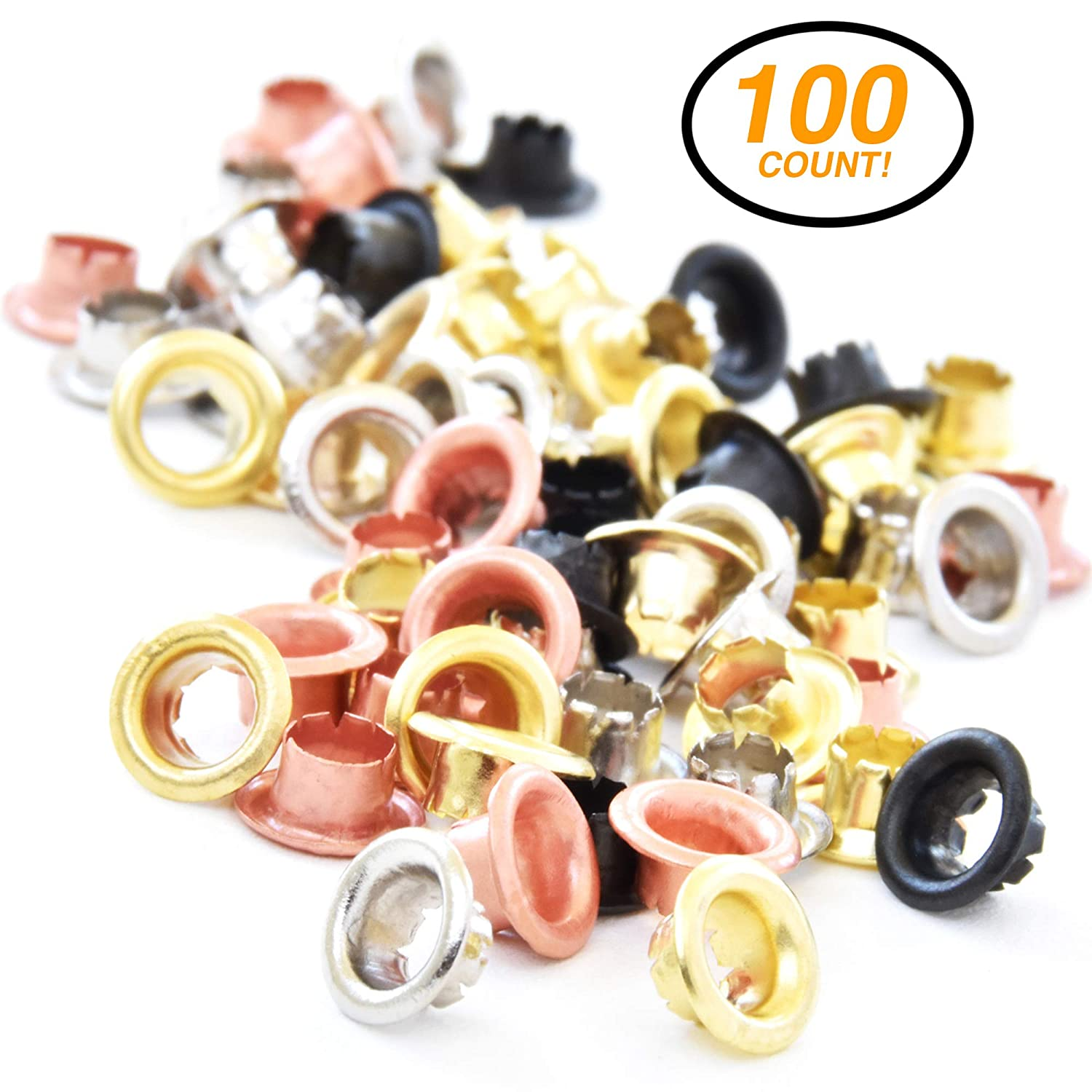 RamPro 3/16 Metal Eyelets, Stainless Steel Grommets with Brass, Silver, Copper and Black Finish, for Shoes Clothes Crafts Eyelet Repair Replacement Pack, Set of 100 Mix N More Inc 3033
