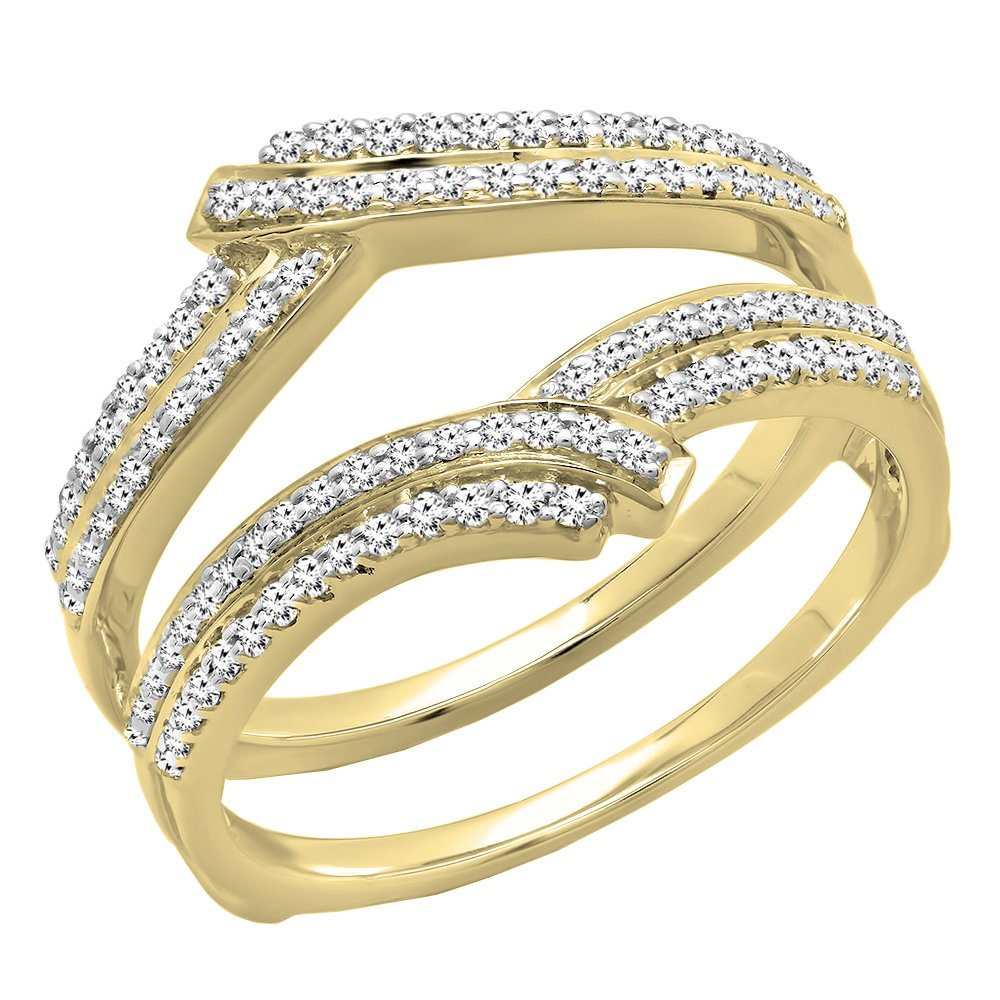 Dazzlingrock Collection 0.32 Carat (ctw) 10K Round Diamond Ladies Wedding Double Guard Ring 1/3 CT, Yellow Gold, Size 8 by Dazzlingrock Collection