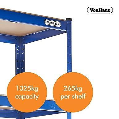Vonhaus - Vonhaus - estantería extra ancha de uso pesado de acero y mdf de 5 estantes, o banco de trabajo - gran capacidad de 1325kg: Amazon.es: Industria, ...