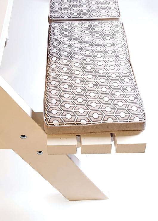 Cojín de Taupo para incombustibilidad 4 asiento, 5 cm grueso cojín de banco de jardín conjunto, cierres de Velcro, Holanda Pimpyourpicnic: Amazon.es: Jardín