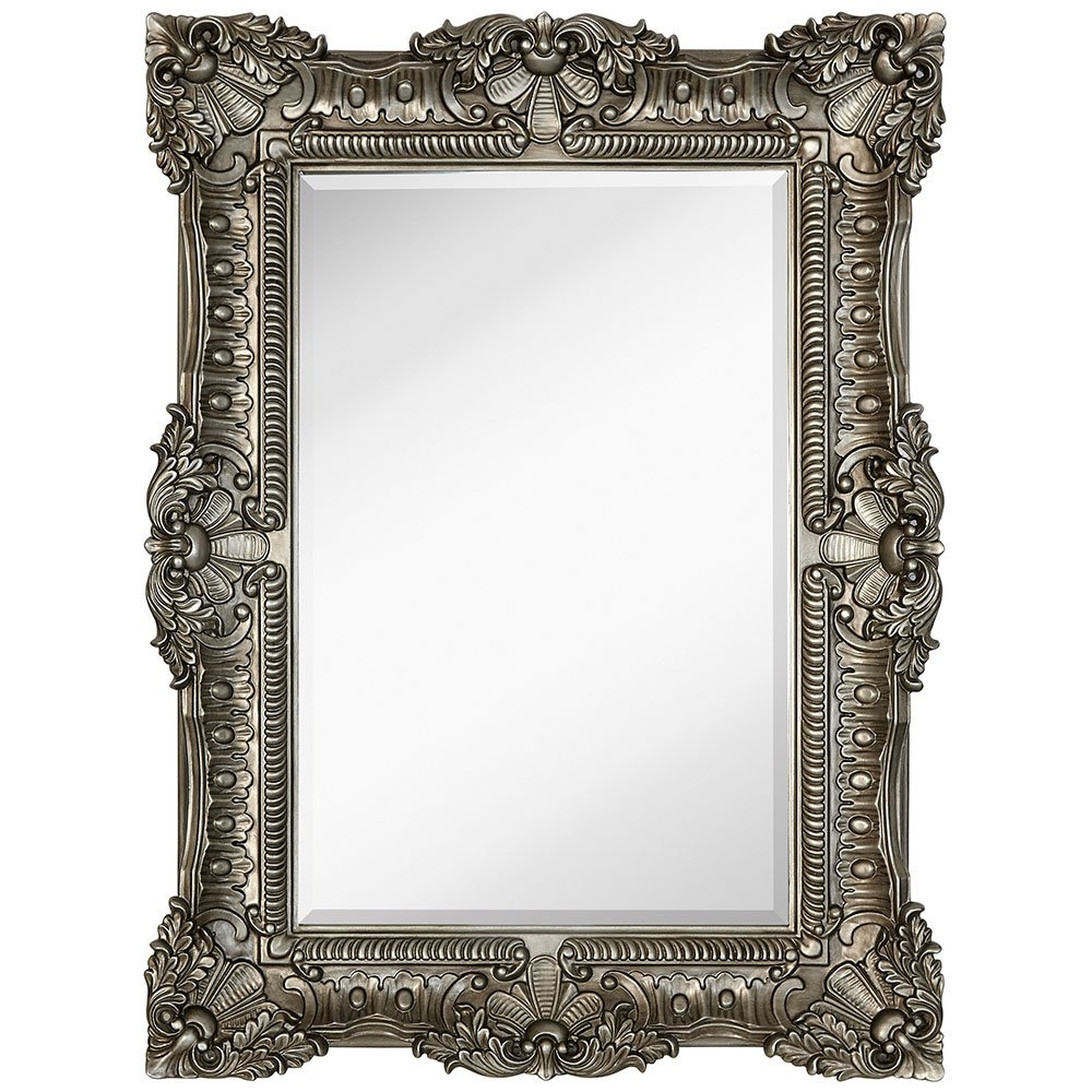 Amazon large ornate antique silver pewter baroque frame amazon large ornate antique silver pewter baroque frame mirror aged luxury elegant rectangle wall piece vanity bedroom or bathroom hangs jeuxipadfo Image collections