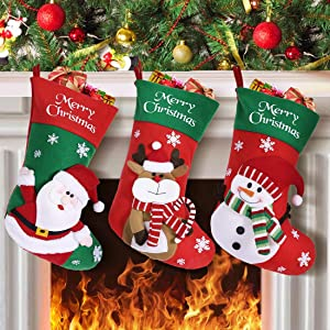 MGparty 3pcs Christmas Stockings , 18 inch Xmas Stocking Party Mantel Decorations Ornaments - Santa Snowman Reindeer for Christmas Tree Decorations (Green & Red Christmas Stockings)