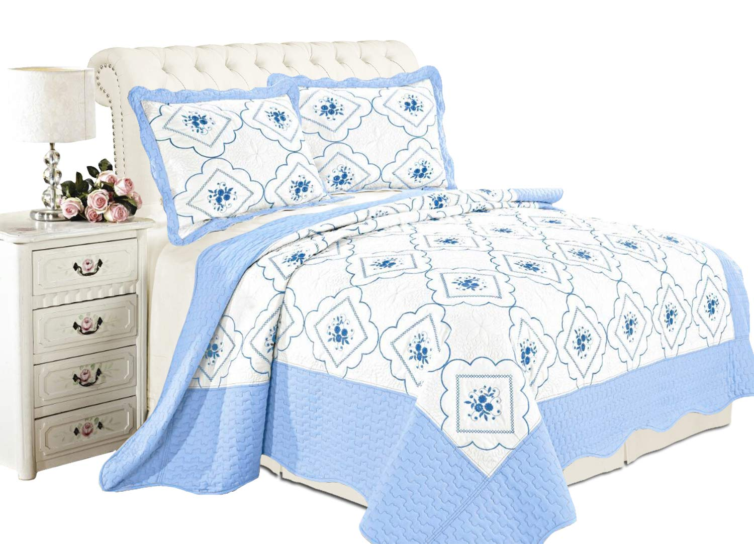 - 3 Piece Floral Embroidered Quilted Poly Cotton Comforter Throw Imperial Rooms Double Bedspread White 2 Pillow Shams
