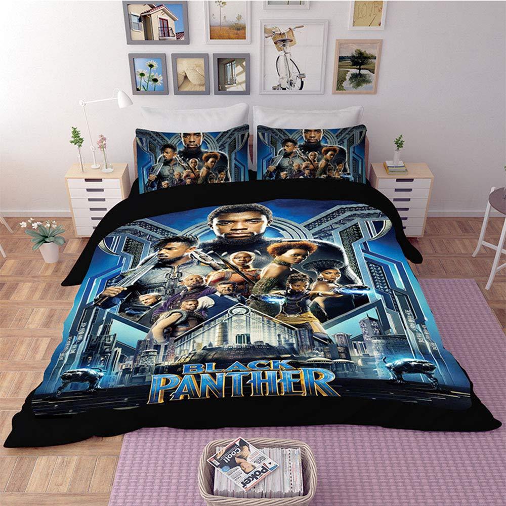 Bedding Duvet Cover-3D Black Panther, Children Action Super Hero Themed Bedding American Superhero Film Based Marvel Titan Hero Series Comics Movie Character Pattern Queen Size