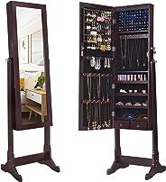 SONGMICS 6-LED Jewelry Cabinet, Lockable Mirrored Standing Jewelry Armoire Organizer, Brown UJJC94K