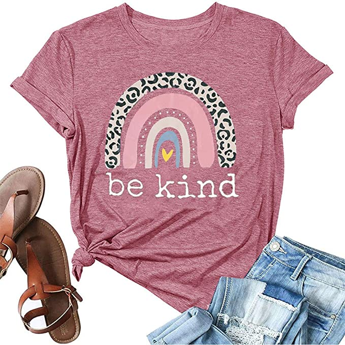 Women's Be Kind T Shirt Cute Graphic Tees Shirt Rainbow Printed Short Sleeve Summer Cotton Tops Shirts
