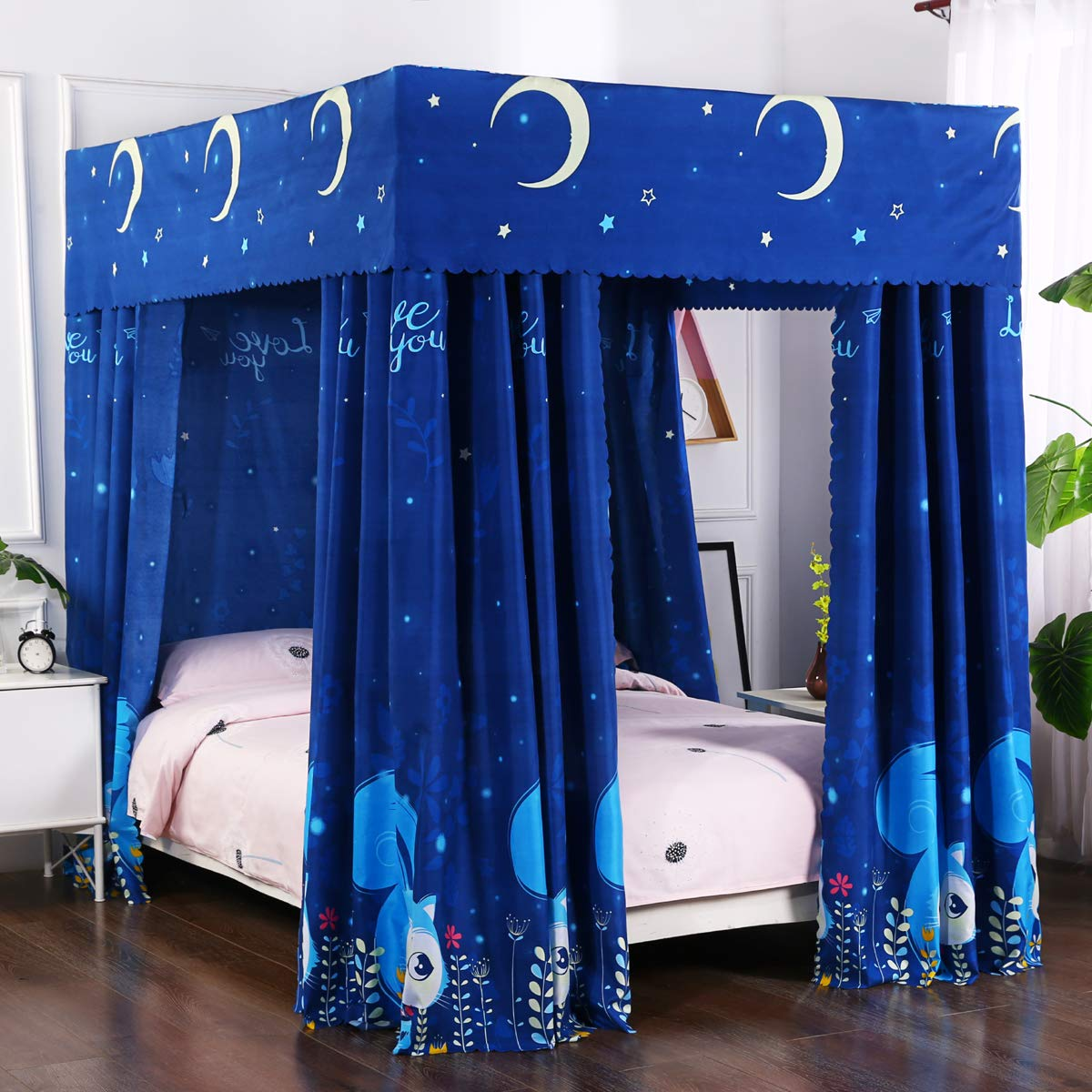 Mengersi Solid Four Corner Post Bed Curtain Canopy Mosquito Net for Boys Kids Queen, Blue