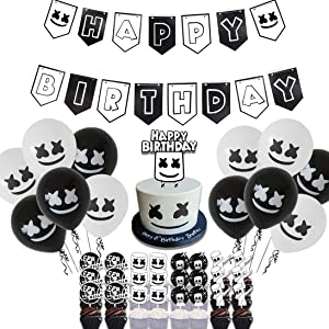 50 Pcs Marshmellow DJ Birthday Party Supplies, DJ Game Party,Ideal for Kids Gamer Fans Gaming Theme Party Decorations Favors,1Banner,24 Cupcake Topper,1 Cake Topper,24 Balloons