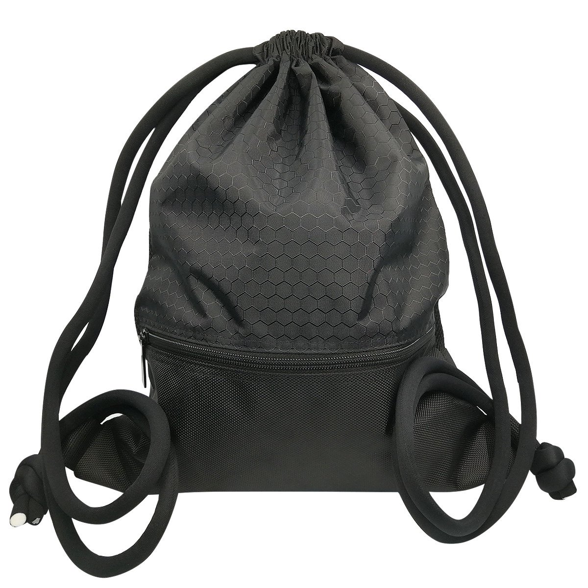 Mochila de Cordón Bolsa de Cuerdas Coolzon® Unisex Saco Deporte Bolso Gimnasio de Nylon con Bolsillo Grande de Cremallera para Adultos y Niños 50x42cm/ 19.7x16.5 (Negro)