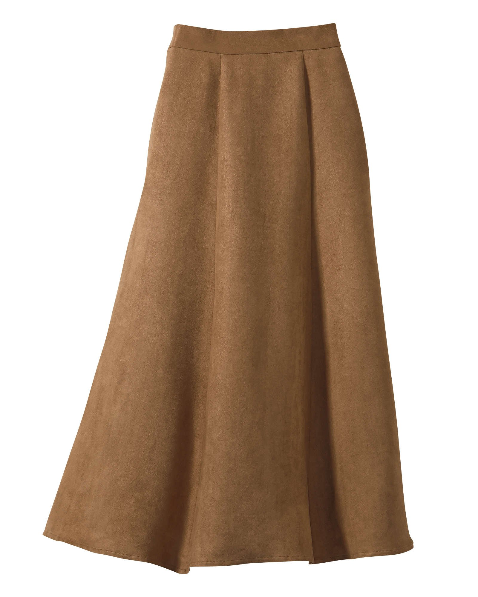 National Poly Suede Skirt, Camel, Petite Large