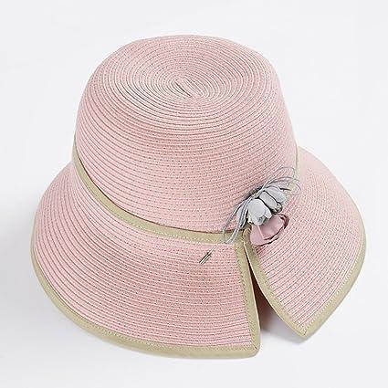 YXX- Mujeres al aire libre Sombrero de paja de playa plegable Protección UV  Sombrero de d36e6d4280e